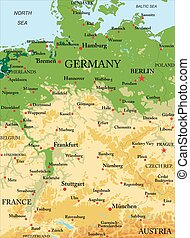 El mapa físico de Alemania