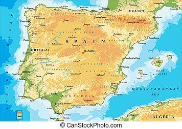 El mapa físico de España