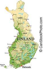 El mapa físico de Finlandia