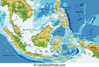 El mapa físico de Indonesia