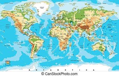 El mapa físico del mundo