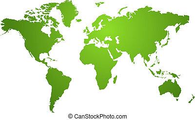 El mapa mundial es verde