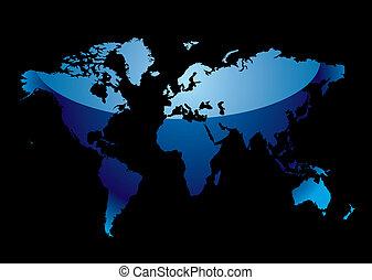 El mapa mundial refleja negro azul