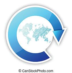 El mapa mundial y las flechas ciclo