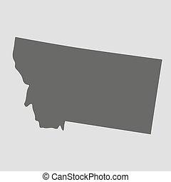 El mapa negro de Montana, ilustración vectorial.