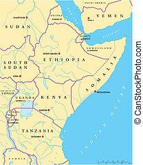 El mapa político de África Oriental