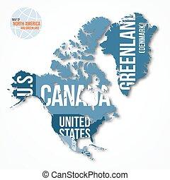 El mapa vector de Norteamérica