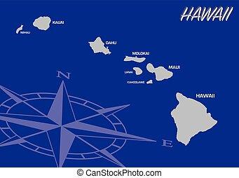 El mapa vectorial azul de nosotros estado de Hawaii con brújula