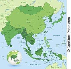 El mapa vectorial de alto detalle de Asia del lejano este