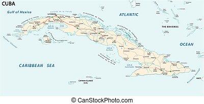 El mapa vectorial de Cuba