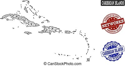 El mapa vectorial de la red poligonal de las islas caribeñas y sellos grunge de la red