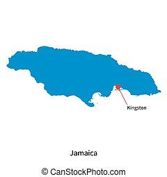 El mapa vectorial detallado de Jamaica y la capital de Kingston