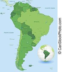 El mapa vectorial verde de Sudamérica fijado