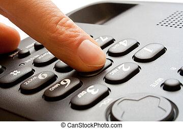 el marcar, -, teclado numérico telefónico, dedo