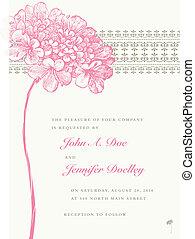 El marco de boda floreado vector rosado y fondo