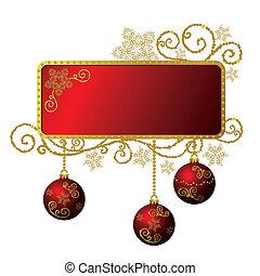 El marco de Navidad rojo y dorado está aislado