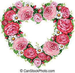 El marco de rosas del corazón