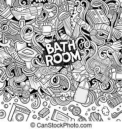 El marco del baño de dibujos animados