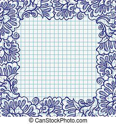 El marco floral de la pluma de boli