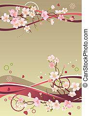 El marco primaveral con corazones, ramas y elementos abstractos