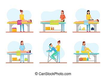 El masaje de los clientes en las mesas pone vector
