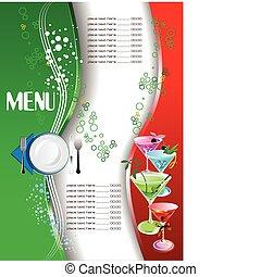 El menú del restaurante. De color