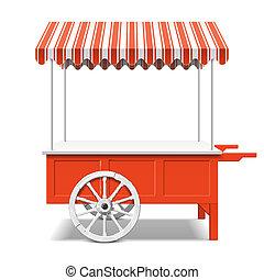 el mercado de farmer, carrito, rojo