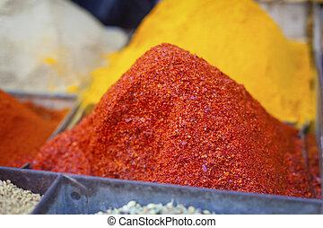 El mercado de las especias tradicionales en la India.