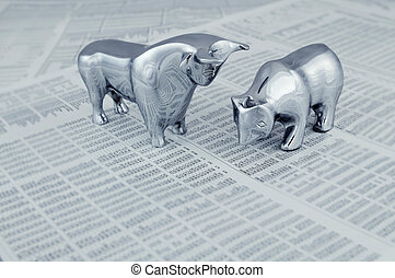 El mercado de valores informa con toro y oso