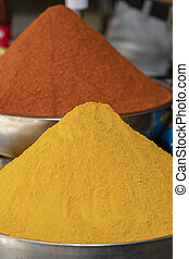 El mercado tradicional de especias en la India, cierra