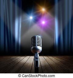 El micrófono escénico y retro