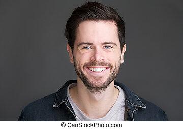 el mirar joven, cámara, retrato, hombre sonriente