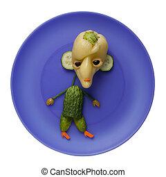 El monstruo vegetal en el plato azul