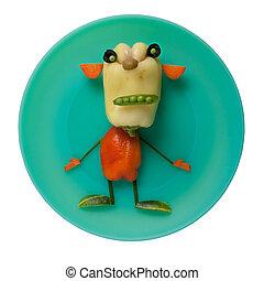 El monstruo vegetal en el plato verde