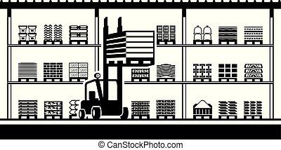 El montacargas mueve palés en stock para materiales de construcción