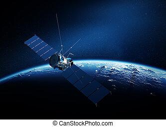 el moverse en órbita alrededor, comunicaciones, satélite, tierra
