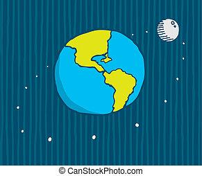el moverse en órbita alrededor, tierra, luna