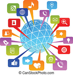 El mundo de la red social con iconos de los medios