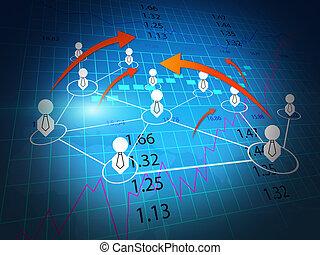 El mundo de los negocios, el gráfico de la bolsa