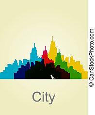 El muro de la ciudad. Ilustración abstracta. Profundidad del vector