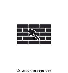El muro de ladrillos con icono de la pala está aislado. Diseño plano. Ilustración de vectores