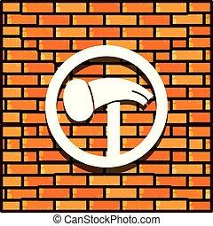 El muro de ladrillos con un icono aislado