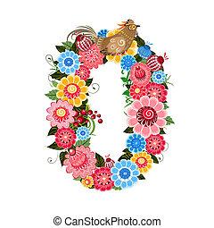 El número de flores con aves al estilo Khokhloma