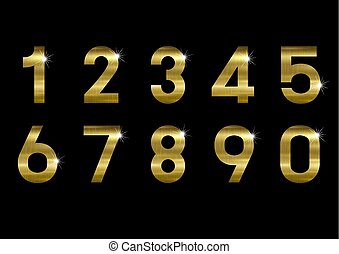 El número de metal dorado en la ilustración del vector negro de fondo