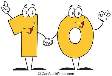 El número diez de dibujos animados