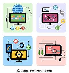 El negocio procesa el icono conceptual en diseño plano