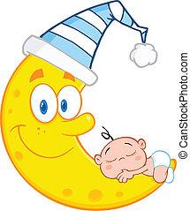 El niño duerme en la luna sonriente
