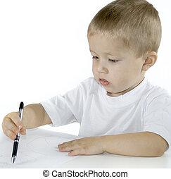 El niño está dibujando en blanco