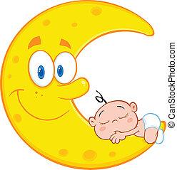 El niño lindo duerme en la luna