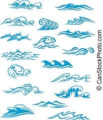 El océano o las olas del mar, surf y salpicaduras